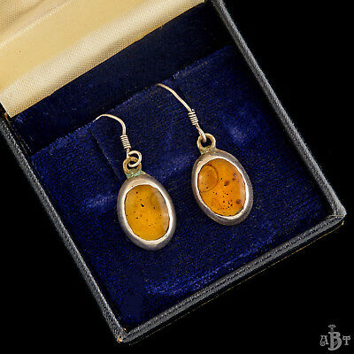Antique Vintage Art Deco Sterling Silver Mid Century Pressed Amber Drop Earrings