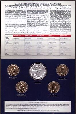 2016 United States Mint Annual Uncirculated Dollar Coin Set W/Silver Eagle