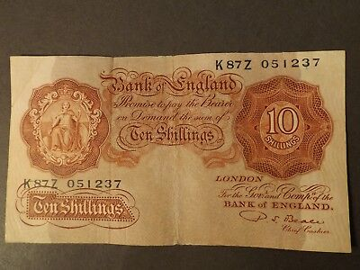 England 10 Shilling Bank Note Brown Signed Beale Crisp But Used