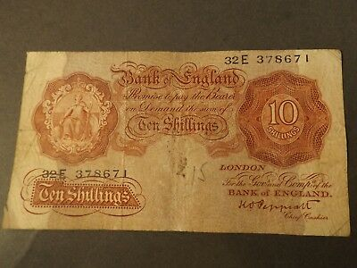 England 10 Shilling Bank Note Brown Signed Beale Crisp But Used Grubby And Has A