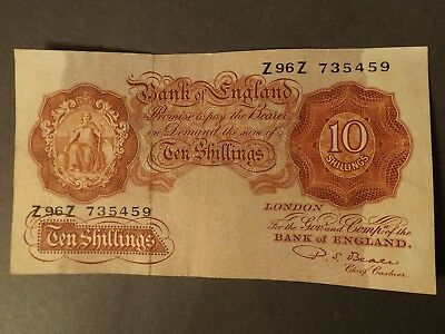 England 10 Shilling Bank Note Brown Signed Beale Very Crisp But Used