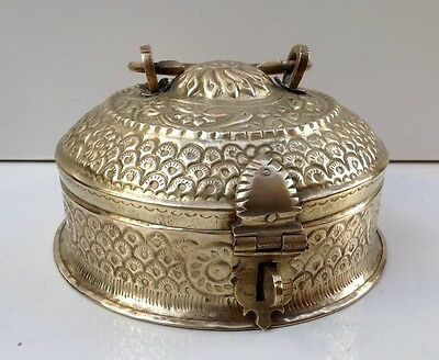 Vintage Indian Kashmiri Brass Betel Nut Box Papadum Chapati