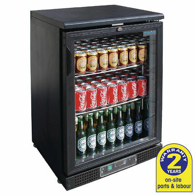 Bar Fridge Undercounter 1 Glass Hinged Door 134L Black Polar Commercial Cafe NEW