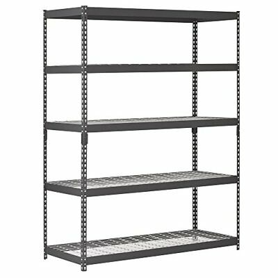 "❤ Edsal Trk-602478W5 Heavy Duty Steel Shelving In Black 60X24x78"" Sturdy"