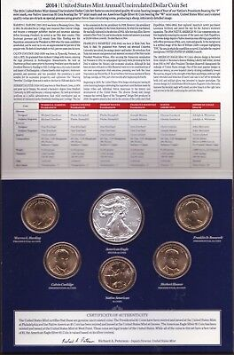 2014 United States Mint Annual Uncirculated Dollar Coin Set W/Silver Eagle