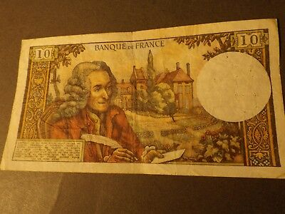 France 10 Franc Bank Note 1970 F Crisp But Used Has Pin Holes