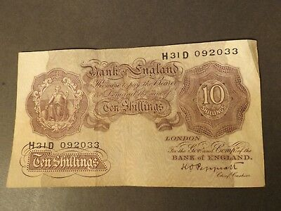 England 10 Shilling Bank Note Mauve Signed Peppiatt Very Crisp But Used
