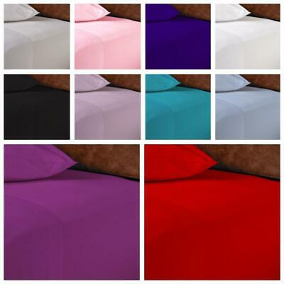 New Deep Fitted Flat Sheets 100% Poly Cotton Single Double King Bed Pillowcases
