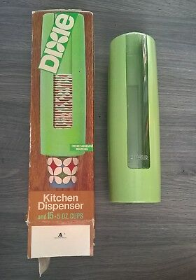 Dixie Cup Kitchen Dispenser Green uses 5 oz Cups Vintage with Box Unused Vintage
