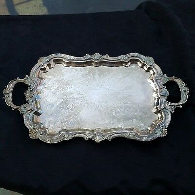 LG.  Birmingham Silver Company silver plated footed ornate serving tray 8 pounds