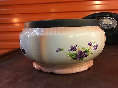 Antique English Violet Flower Decorated Porcelain Bowl with Silver Plated Top