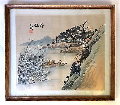 Original Vintage Chinese Painting on Silk Fabric on Paper (Frame not included)
