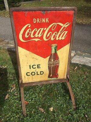 RARE 2 SIDED METAL COKE SIGN WITH ORIGINAL STAND. 1 side has POP ARTISH purples