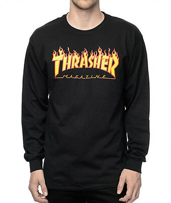 Thrasher Magazine L/S Flame Black Long Sleeve Crew Neck Tee Skateboard T-Shirt