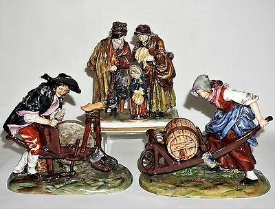 3 Vintage Capodimonte Porcelain Figurines Peasant Family / Blacksmith & Gardener