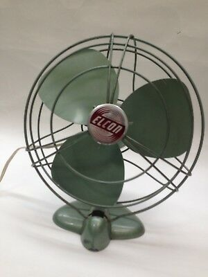 Vintage Mid Century Oscillating Elcon Fan Desktop Metal Industrial