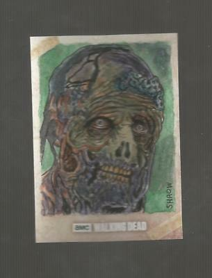 2017 Topps WALKING DEAD 1/1 Sketch Shipwreck Walker Shaow Siohg Season 7 COLOR
