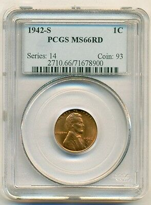 PCGS 1942 S Lincoln Wheat Cent UNC MS66 RED*