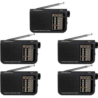 5pcs Brand  FM/AM/SW V-117 3 Band Portable Radio Battery Powered Emergency Radio