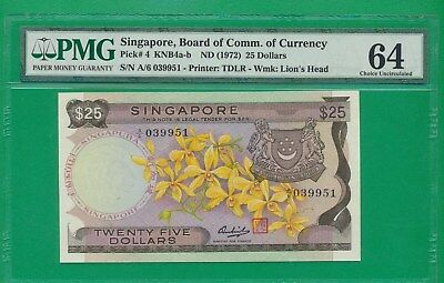 Singapore Pick# 4 KNB4a-b 1972 Orchid $25, 25 Dollars , UNC RARE