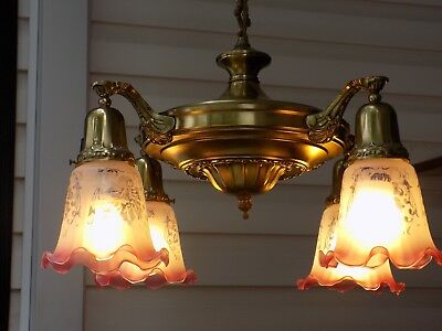 Vintage Brass 4 Shade Hanging Light Fixture Working Chanelier