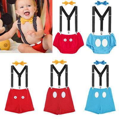 Baby Toddler Boy Cake Smash Outfit Suspender Pants Bowtie 1st Birthday Costume
