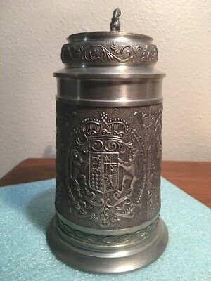 """Miller Brewing President's Club Pewter Beer Stein 7 3/4"""" Tall 1977 High Life"""