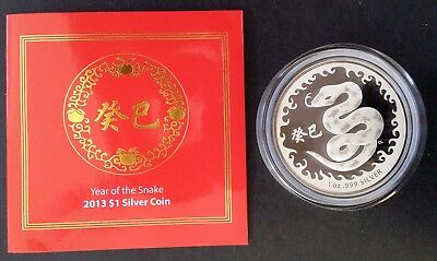 2013 Australia Chinese Year of the Snake 99.9% Silver Proof-like  $1 coin