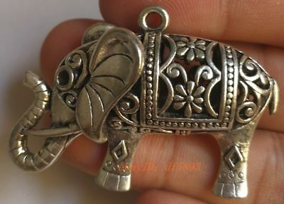 Collection of exquisite hand-carved Tibetan silver elephant pendant