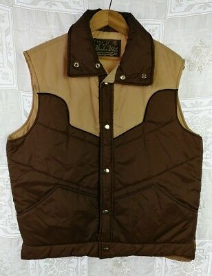 VTG 70's Winter White Brand Puffer Vest Quilted Western Yoke Brown Snap Front M