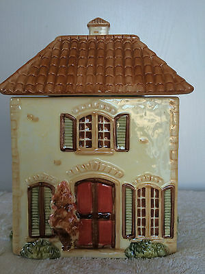 Cookie Jar Toscana Villa House Hand Painted Ivory Brown Ceramic Pier 1 Imports