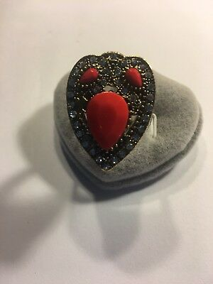 Retro Solemn Carved Pattern Inlaid Red Crystal Silver Plated  Ring Size 10-R1397