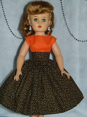 """FALL COLORS COTTON DAY DRESS - for 22"""" Vintage Fashion Doll"""