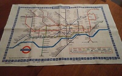 Vtg irish linen tea towel London Transport underground Lamont