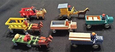 Vtg. Germany c.1930 Erzgebirge  7 Vehicles Trucks w/ Drivers for Putz Villiage