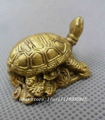 Collectible Copper Carve Tortoise Sent Wealth Royal Rich Auspicious Statue