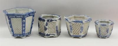 Lot 4 Asst Size Asian Hexagon Open Lattice Porcelain Pots Bl & White #10