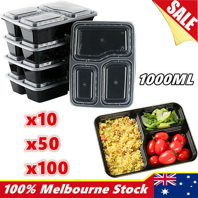 10-100 Food Container Plastic DISPOSABLE Takeaway Take Away Microwave Box Lids