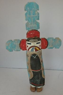 Old Native American Indian HUGE Kachina carved wood painted with head dress