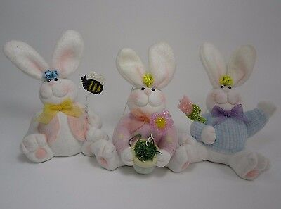 Easter Bunny Rabbit Figurines Set Of 3