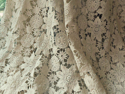1 Yard Vintage Cotton Floral Guipure Lace Fabric Beige 2 Scalloped Borders