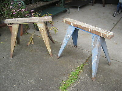 2 Saw Horses - Timber Tops With Metal Legs
