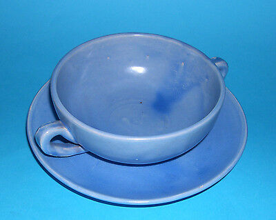 C.H.Brannam Pottery Barnstaple - Attractive Twin-Handle Soup Bowl With Saucer