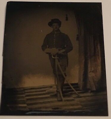 Amazing Civil War Era Tintype Soldier in Uniform with Sword & Scabbard