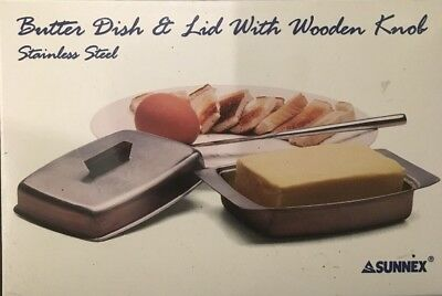 New Boxed Quality Stainless Steel Butter Dish & Lid. Sunnex 11728