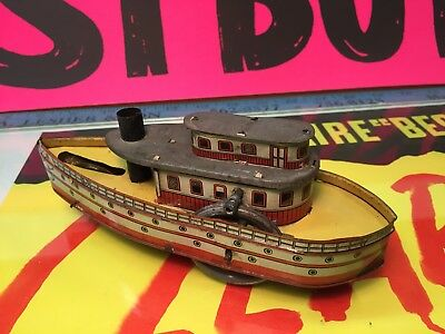 Very Rare Beautiful Tin Litho River Boat George Carette Germany Early 1900's