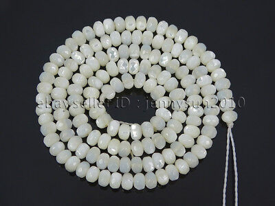 148Pcs Natural White Mother Of Pearl MOP Shell Faceted Rondell Beads 16' 2x4mm