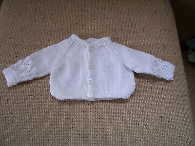New Hand Knitted Baby Cardigan  White  Newborn