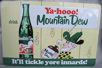 Vintage Classic MOUNTAIN DEW Soda SIGN Embossed Metal 20 X 30 by Phoenix Sign Co