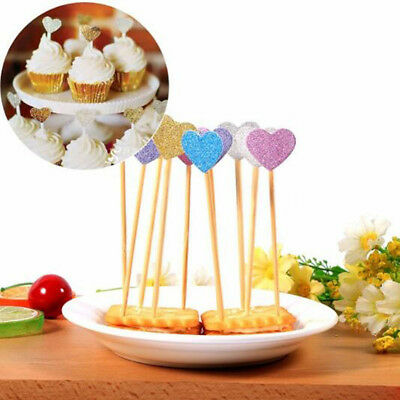 10pcs Birthday Cupcake Toppers Love Heart Party Decor Baby Shower Wedding Cake x